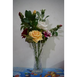 ARTIFICIAL FLOWER 6 SINGLE ROSE BUNCH WITH VASE