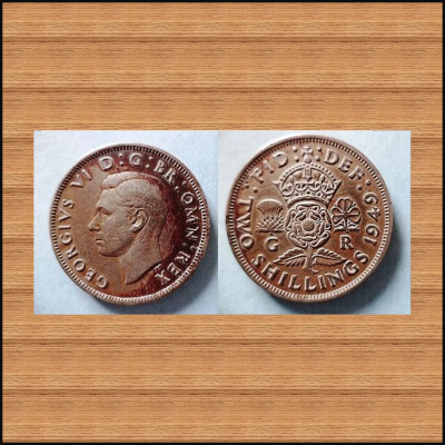 COIN OF ENGLAND... KING GEORGE VI .... TWO SHILLING .. IN THE YEAR 1949