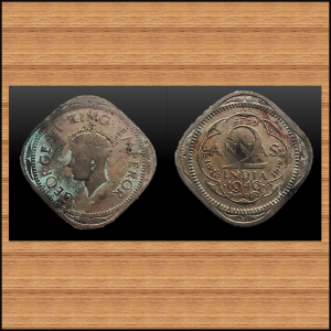 BRITISH INDIA... KING GEORGE VI.. TWO ANNA... NICKEL .. IN THE YEAR 1946